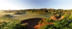 7th green and bunkers panorama